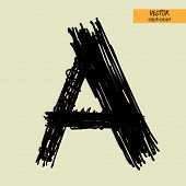 art sketched stylization alphabet in vector, black grungy ink font, sign A