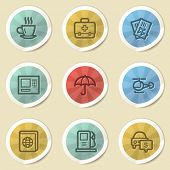 Travel web icons, color vintage stickers