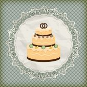 Vector Retro Wedding Invitation With Big Wedding Cake On Lacy Napkin