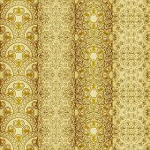 Vector Seamless Golden Patterns, Oriental Style