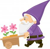 Illustration of a Gnome Pushing a Cart Carrying Flower Pots
