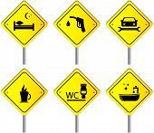 set road signs with services for travel and car