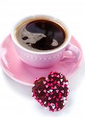 Heart shaped chocolate cookie and coffee