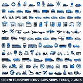 100 AND 20 Transport blue icons