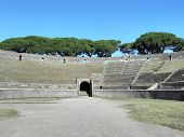 The amphitheater of ancient Pompeii.