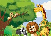 Illustration of a forest with scary wild animals