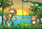 foto of ape  - Illustration of a lake with crocodiles and monkeys playing - JPG