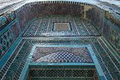 image of mausoleum  - tile decoration of the Shakhizinda mausoleum complex in Samarkand - JPG