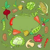 Card with vegetables.