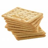 pic of biscuits  - Tasty cracker biscuit isolated on white background - JPG