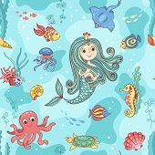 Seamless pattern with mermaid princess