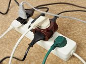 stock photo of cord  - Electric extension cord with multiple european plugs