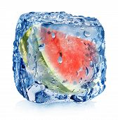Watermelon in ice cube