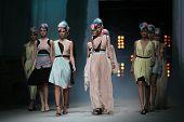 ZAGREB, CROATIA - APRIL 11 : Fashion model wears clothes made by Yuniku on
