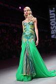 ZAGREB, CROATIA - APRIL 12 : Fashion model wears clothes made by Zigman on