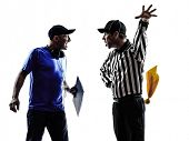 american football referee and coach conflict dispute conflict dispute in silhouettes on white backgr