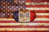 Wooden Flag Of Iowa.