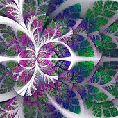 Fabulous Fractal Pattern In Purple, Blue And Green. Collection - Tree Foliage. Computer Generated Gr