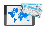 Online Booking Concept. Tablet Pc With Air Tickets