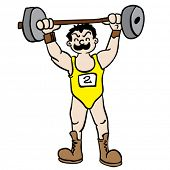 stock photo of weight lifter  - weight lifter cartoon illustration - JPG
