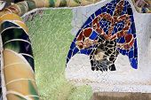 Gaudi mosaic at the park Guell, Barcelona