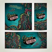 Abstract vector ethnic backgrounds set.
