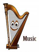 Happy harp in a music concept