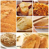 a collage of different bread products collage such as bread slices, french toasts, a bagel topped wi