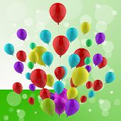 Floating Colourful Balloons Mean Cheerful Ceremony Or Multicolou
