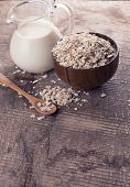 Oat Flakes In Bowl With Milk