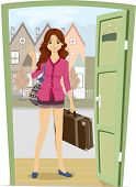 picture of carry-on luggage  - Illustration of a Girl Carrying a Piece of Luggage Coming Home for a Visit - JPG