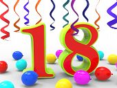 Number Eighteen Party Shows Teenager Birthday Party Or Celebrati