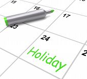 Holiday Calendar Shows Rest Day And Break From Work