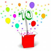 Number Ten Surprise Box Shows Numerical Toy Or Adornment