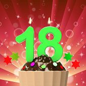 Eighteen Candle On Cupcake Means Eighteenth Birthday Cake Or Cel