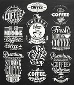 Set Of Vintage Retro Coffee Labels On Chalkboard Description: Set Of Vintage Retro Coffee Labels On