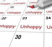 Unhappy Calendar Means Miserable Troubled Or Dissatisfied