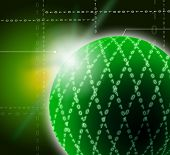 Green Ornamented Sphere Background Shows Geometrical Art And Dig