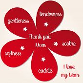 stock photo of i love you mom  - red flower with thank you mom and I love you - JPG