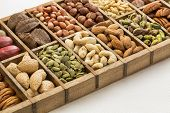 nuts and seed collection (cashew, pecan, pistachio, Brazilian, hazelnut,pine nuts, peanut, pumpkin) in an old typesetter wooden drawer