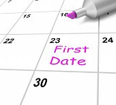 First Date Calendar Means Romance And Dating