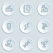 Ecology web icon set 5, white sticker buttons