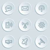 Communication web icons, white sticker buttons