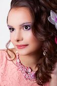 Portrait Of A Woman With Make-up With Pink Decoration Technique Soutache