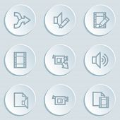 Audio video edit web icons, white sticker buttons