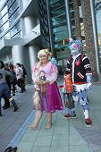 APRIL 19-ANAHEIM, CA: Unidentified cosplayers roam the halls and grounds of the 2014 Annual Wondercon convention to pose for photos on April 19, 2014 in Anaheim, CA.