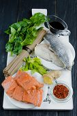 Raw ingredients for making Chinese soba noodles