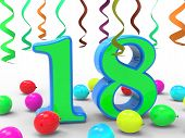 Number Eighteen Party Means Colourful Teen Celebration Or Event