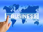 Business Map Represents Worldwide Commerce Or Internet Company
