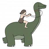 An image of a caveman riding a dinosaur.